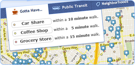 rental search results near coffee shops, car shares and grocery stores screenshot