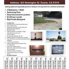 Rental info for House For Rent In Duarte, CA in the Duarte area