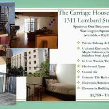 Rental info for 1311 Lombard Street #503 in the Philadelphia area