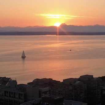 Photo of North Belltown Sunset From the Sky in Belltown, Seattle