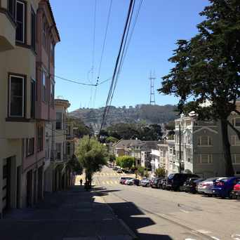 Photo of Sutro Tower from Fulton Street and Cole Street in Panhandle, San Francisco