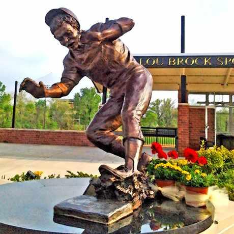 Photo of Lou Brock Sculpture at Lindenwood University in St. Charles