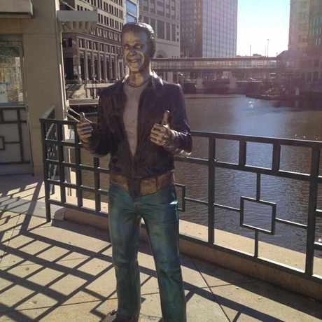 Photo of The Bronze Fonz in Juneau Town, Milwaukee