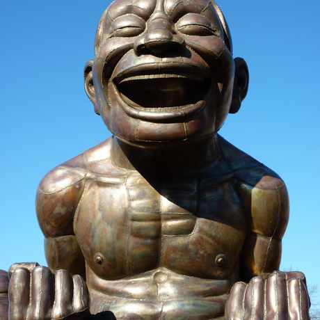 Photo of A-maze-ing Laughter - sculpture by Yue Minjun, Morton Park in Vancouver